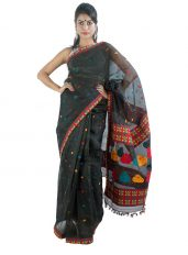 Black Mulberry Silk Saree in Kingkhap Design