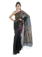 Black Raw Mulberry Silk Saree in Geometric design