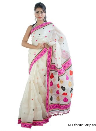 White Pure Mulberry Silk Saree in Kingkhap Design