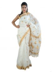 Chequered White Raw Mulberry Silk Saree