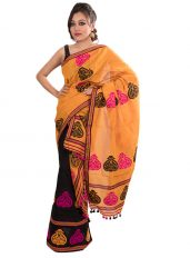 Orange and Black Contrast Mekhela Chadar