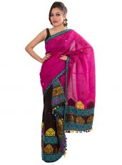 Pink and Black Floral Mekhela Chadar