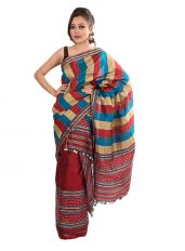 Multicolour Stripped Mekhela Chadar set
