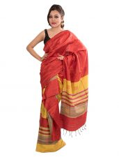 Stripped Red Ghicha Silk Mekhela Chadar