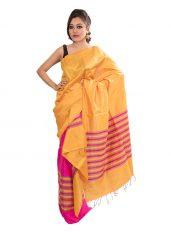 Pink and Orange Contrast Ghicha Silk Mekhela Chadar