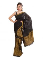 Black Brocade Design Mekhela Chadar