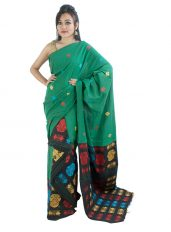 Bottle Green Mekhela Chadar set