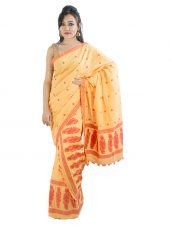 Orange and Red Paisley Design Mekhela Chadar