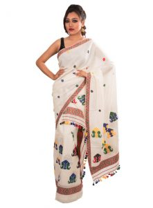 White Mishing Design Pure Cotton Mekhela Chadar