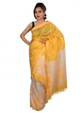 Yellow and White Pure Silk Mekhela Chadar