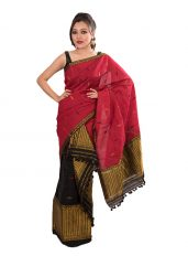 Maroon and Black Semi-Brocade Mekhela Chadar