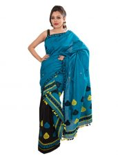 Blue and Black Mekhela Chadar with Jaapi border