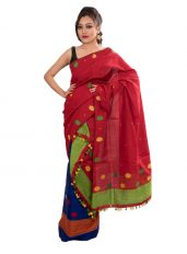 Red and Blue Contrast Mekhela Chadar