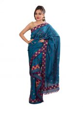 Deep Blue Mekhela Chadar with Floral border