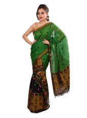 Green Mekhela Chadar in Golden Peacock design