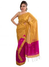 Yellow and Pink Jamdani Style Mekhela Chadar