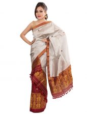 Silver and Maroon Silk Mekhela Chadar