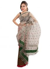 Silver and Red Contrast Kesa Paat Mekhela Chadar