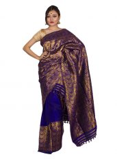 Deep Blue Heavy Zari Covered Mekhela Chadar