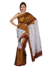 Silver and Gold Heavy Guna Brocade Mekhela Chadar