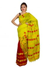 Fluorescent Green and Red Contrast Mekhela Chadar