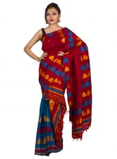 Red and Blue Jaapi border Mekhela Chadar