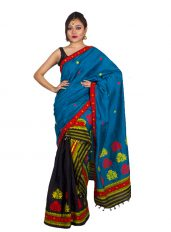 Black and Blue Floral Border Mekhela Chadar