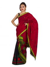 Red and Black Floral Border Mekhela Chadar