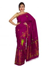Deep Pink Five-Flower Mekhela Chadar
