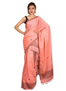 Peach colour Pure Cotton Mishing Mekhela Chadar