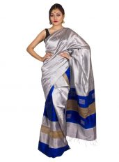 Blue and Silver Box style Ghicha Mekhela Chadar