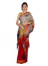 Red Kingkhap design Nuni Mekhela Chadar