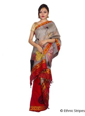 Red Kingkhap design Nuni Mekhela Chadar