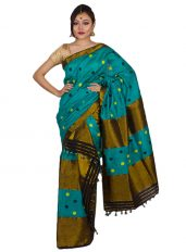 Bottle Green Brocade Guna Mekhela Chadar