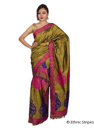 Bronze Colour Silk Mekhela Chadar