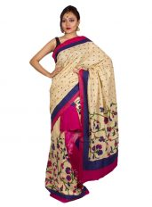 Pink and Blue Floral Khadi Cotton Mekhela Chadar