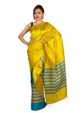 Yellow and Blue Stripped Ghicha Mekhela Chadar