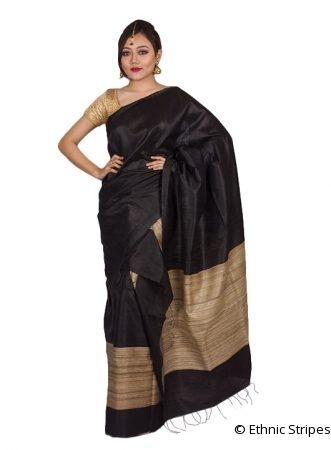 Black Ghicha Silk Mekhela Chadar