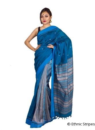 Arunachal Design Blue Saree