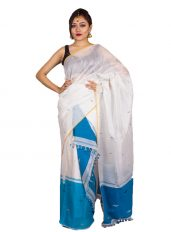 Blue and White Jamdani Mekhela Chadar