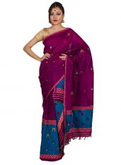 Purple and Blue Mishing Border Mekhela Chadar
