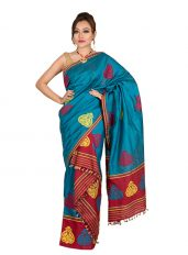 Blue and Red Kingkhap design Mekhela Chadar