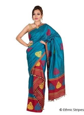 Blue and Red Kingkhap design Mekhela Chadar