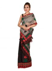 Ash Grey and Black Nuni Mekhela Chadar