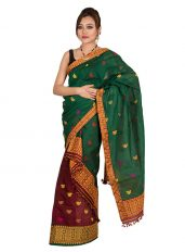 Bottle Green and Maroon Contrast Mekhela Chadar