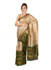 Green and Golden Ghicha Silk Mekhela Chadar