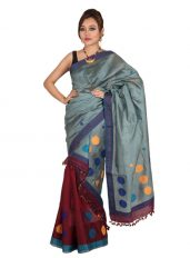 Maroon and Blue Multifloral Mekhela Chadar