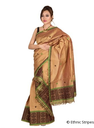 Copper Colour Bisoni design Mekhela Chadar