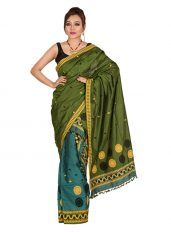 Green Floral Stripes Mekhela Chadar