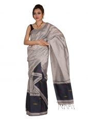 Grey and White Jamdani Mekhela Chadar